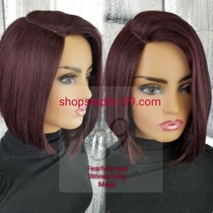 Racy wine custom made and color lace front wig